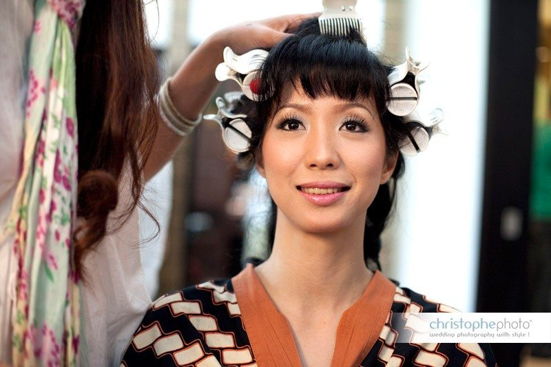 Bride getting ready for ther wedding in Bali Indonesia