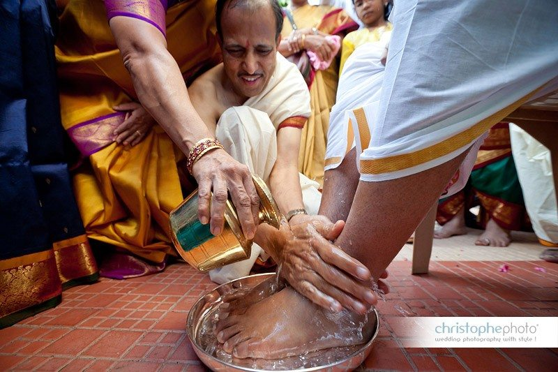 The process of washing the feet is very important ritual in indian weddings.