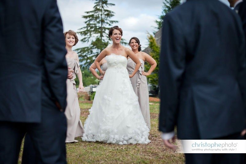 the bride and bridesmaids having fun with the boys before the wedding ceremony.