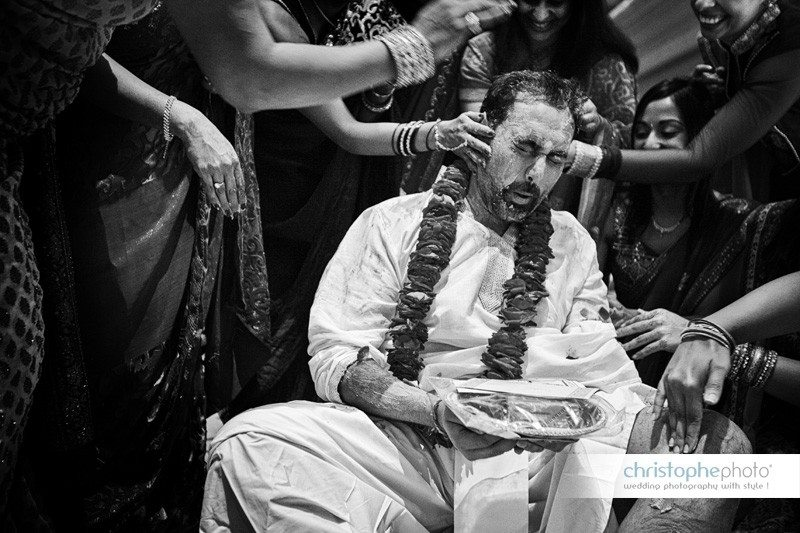 the tumeric ceremony on the groom side