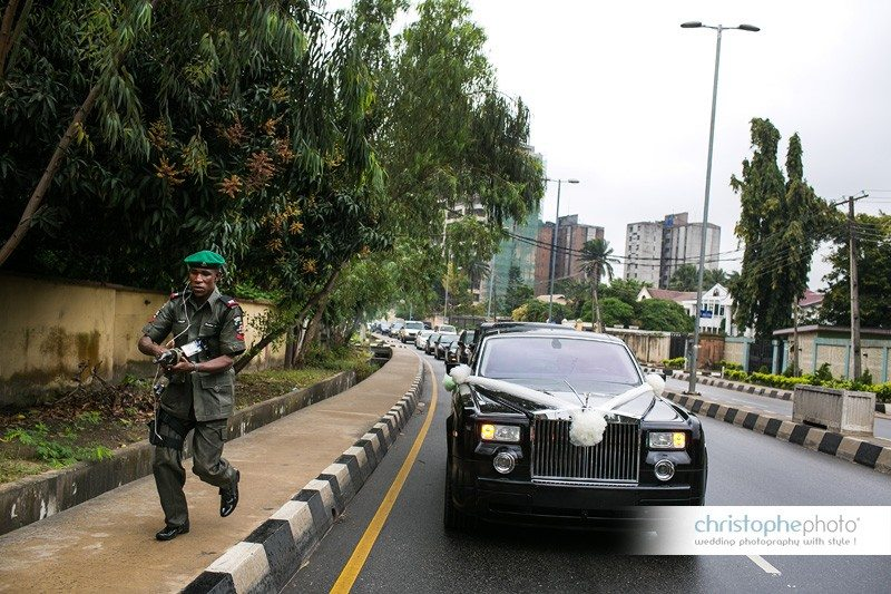 The wedding convoy was taking place in the curfew hours in Lagos, Nigeria