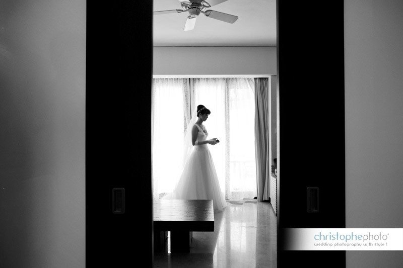 Bride getting ready for ther wedding in Bali Indonesia. Black and white portait.