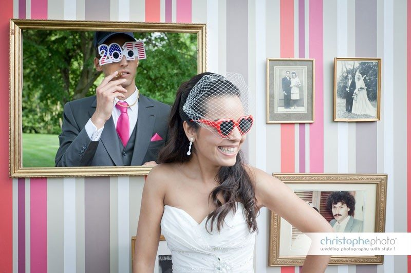 Portrait at the wedding photobooth.