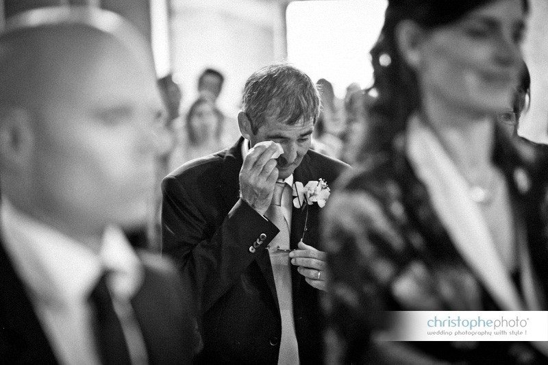Father of the getting emotional as the wedding ceremony is moving forward. Photo taken by wedding photographer pisa venice italy
