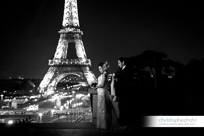 Midnight in Paris with Eiffel Tower lit in the background by Wedding Photographer Paris