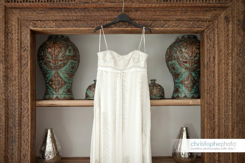 Wedding dress in the villa in Kenya
