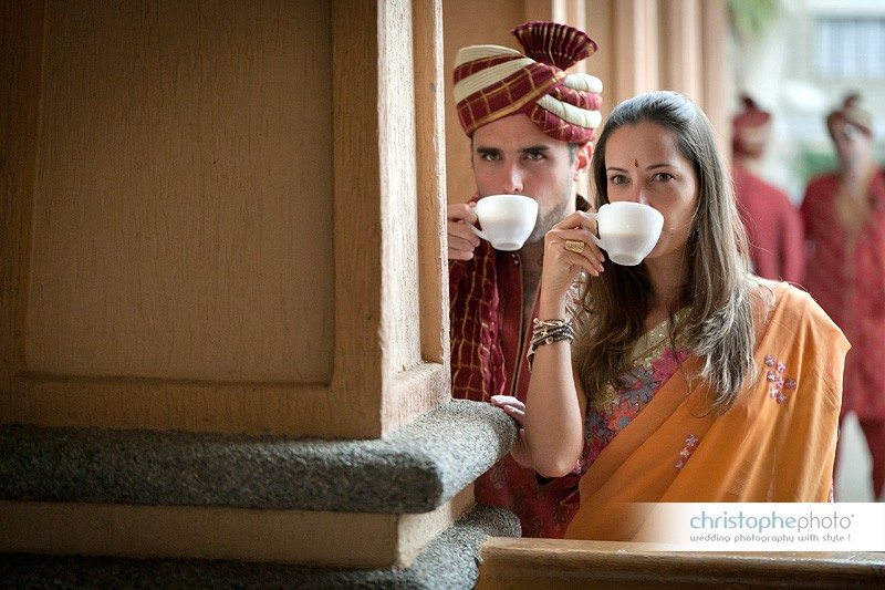 Guest drinking Indian Chai at the end of the wedding ceremony
