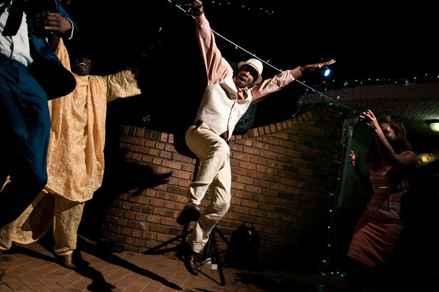 Guest dancing during the wedding reception in Zimbabwe